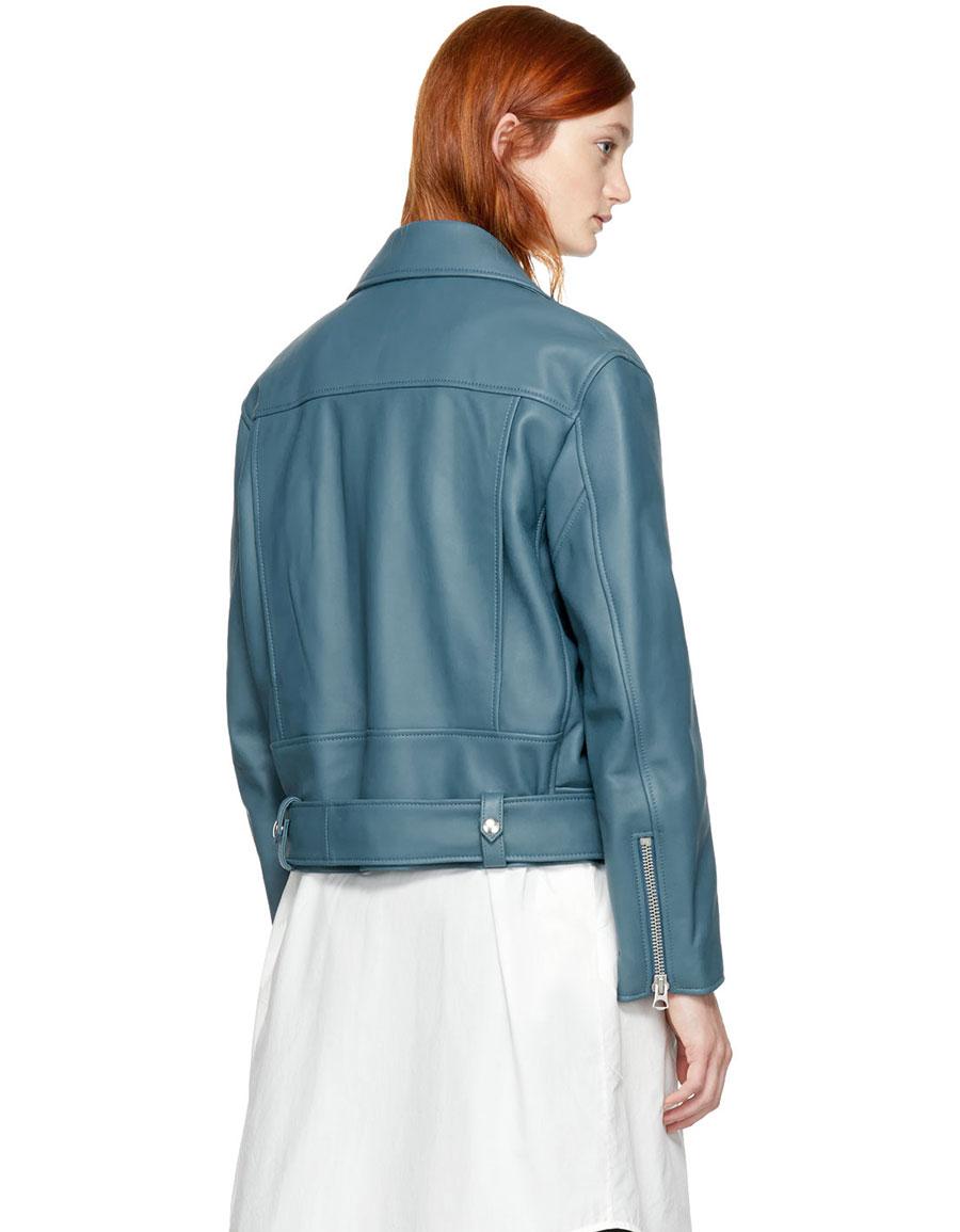 ACNE STUDIOS Blue Leather Merlyn Jacket