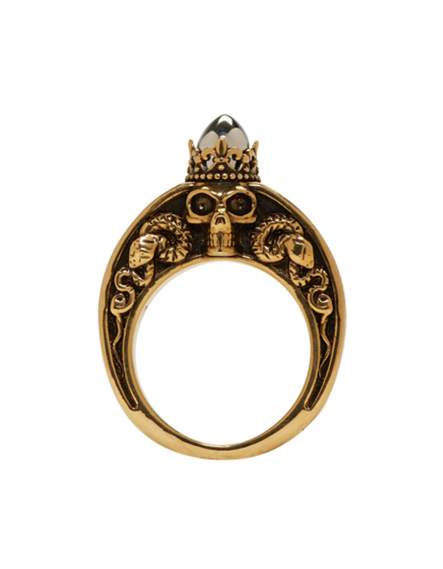 ALEXANDER MCQUEEN Gold Engraved Skull Ring