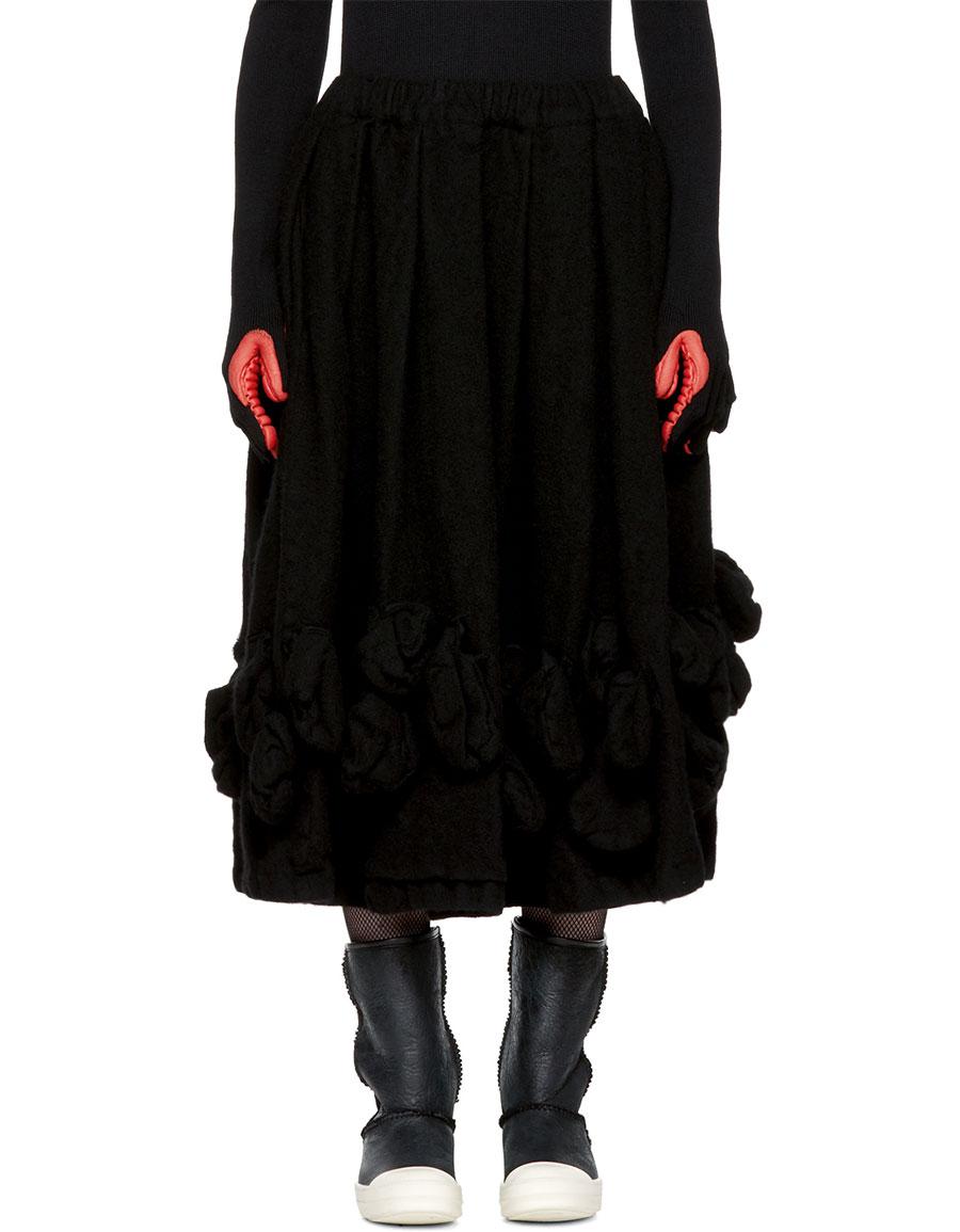 COMME DES GARÇONS Black Wool Bulbous Attachments Skirt