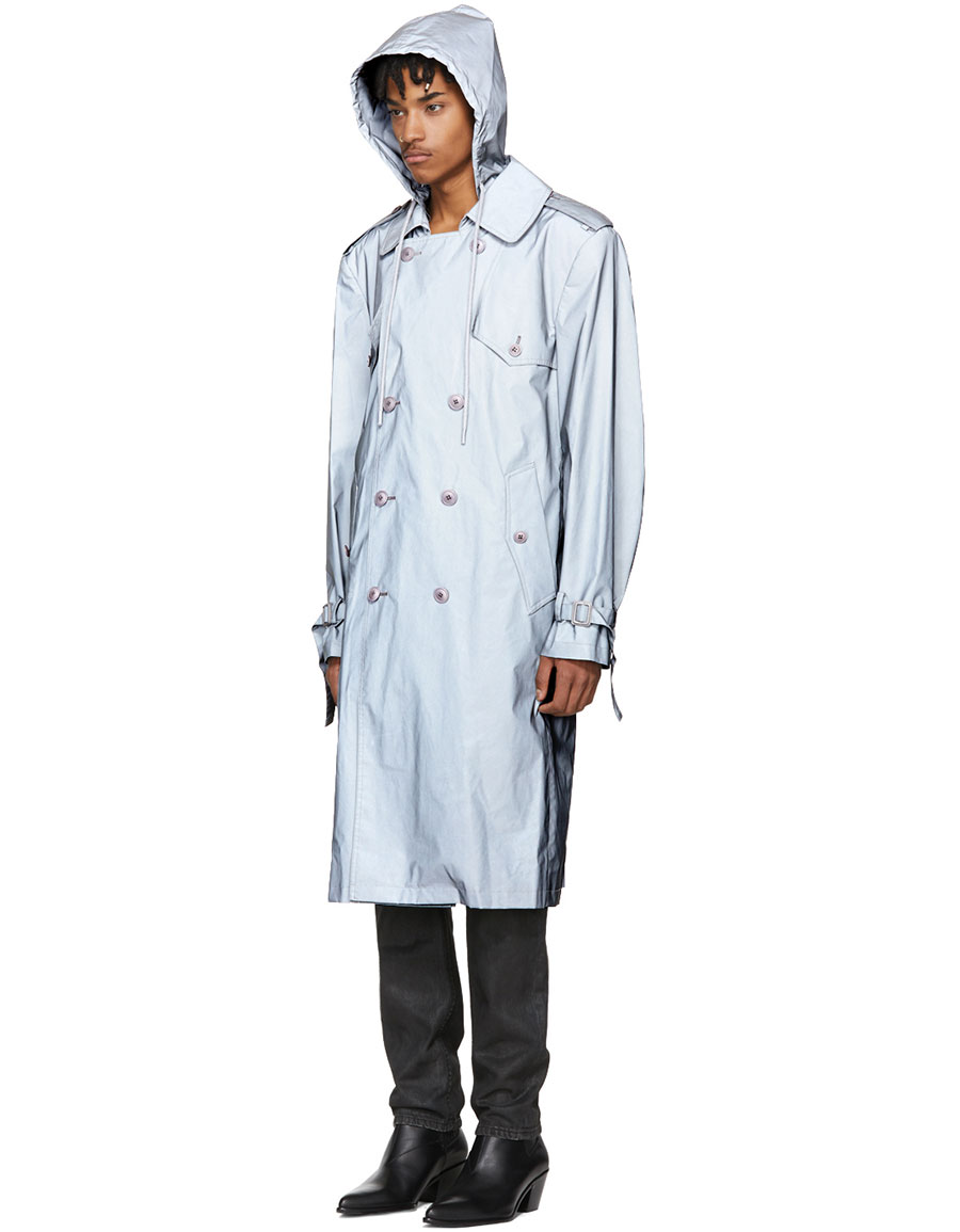HELMUT LANG Silver Reflective 3M Hooded Trench Coat