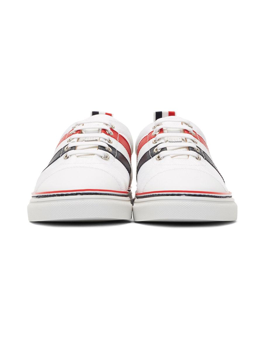THOM BROWNE White Diagonal Stripe Straight Toe Cap Sneakers