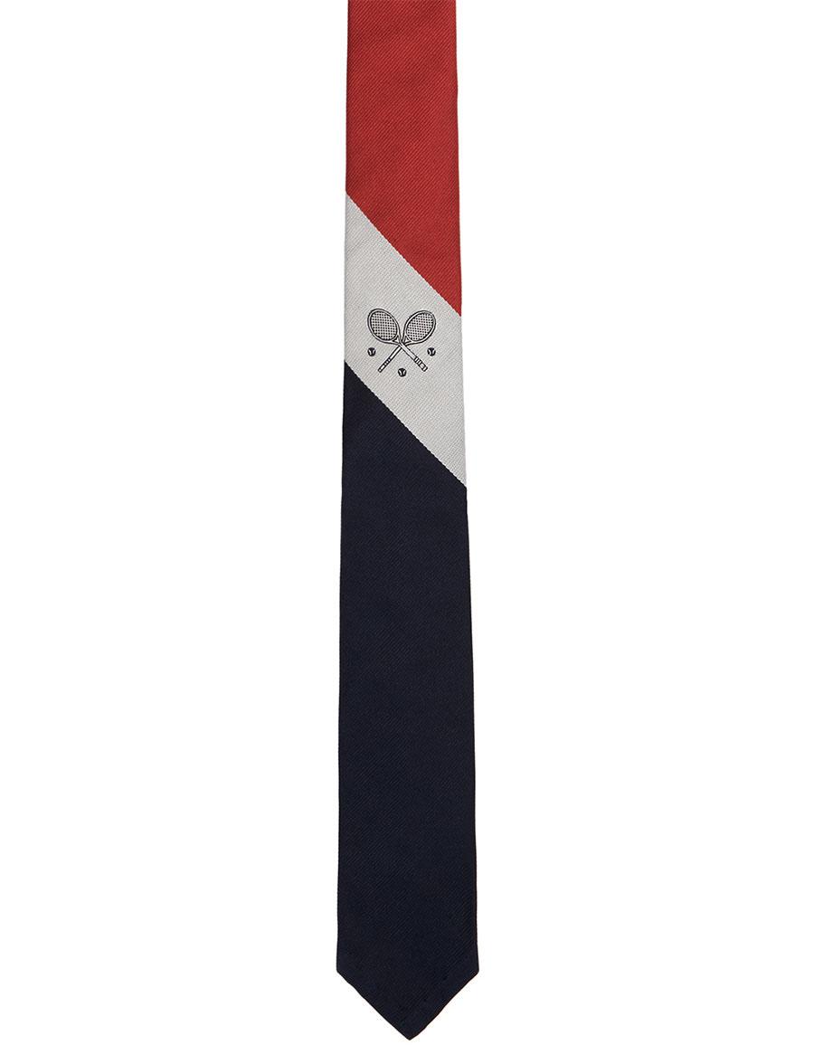 THOM BROWNE Red Tennis Crest Classic Tie