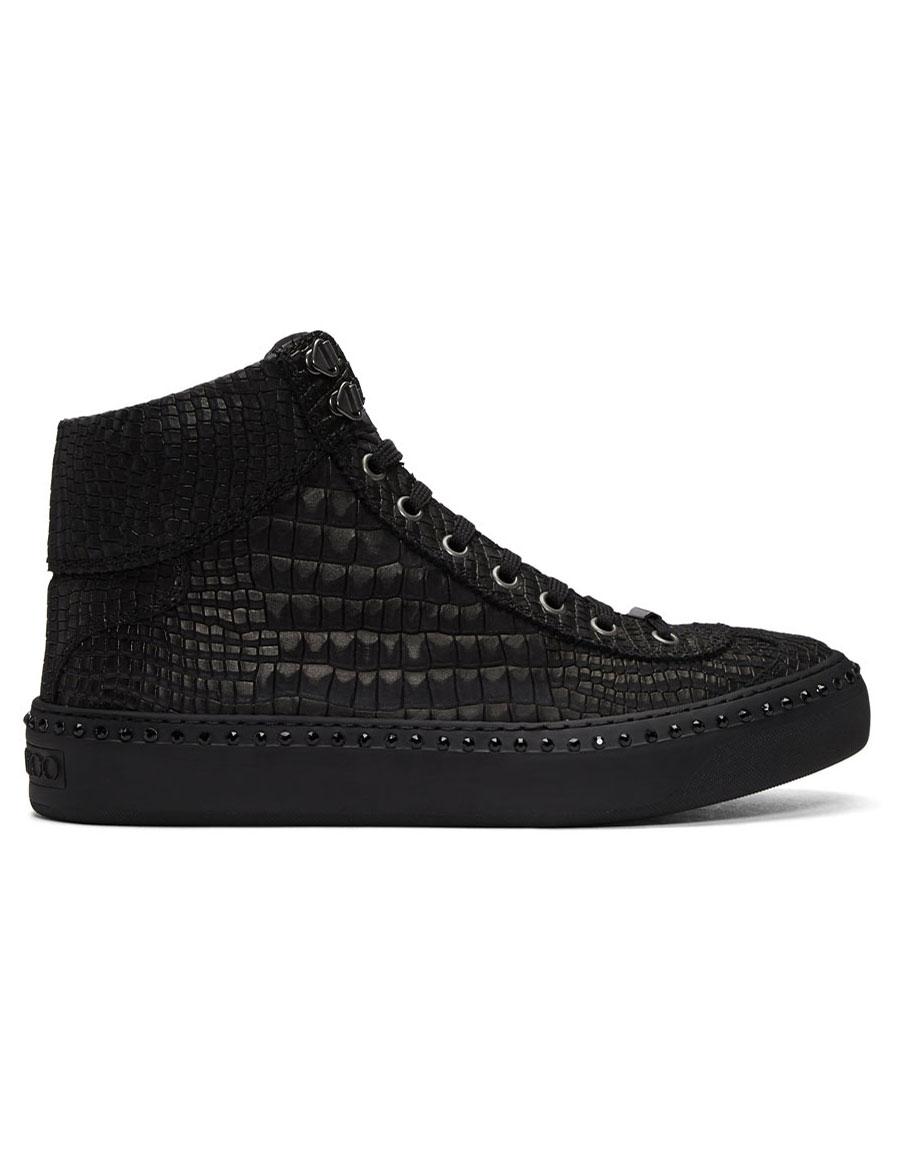 9ade6b36696 JIMMY CHOO Black Croc Crystal Argyle High-Top Sneakers · VERGLE
