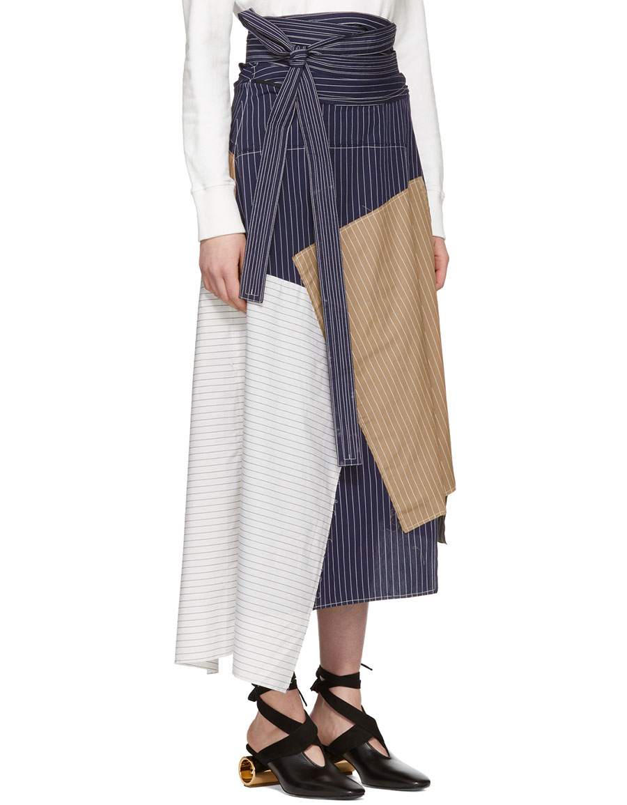 JW ANDERSON Navy Patchwork Skirt