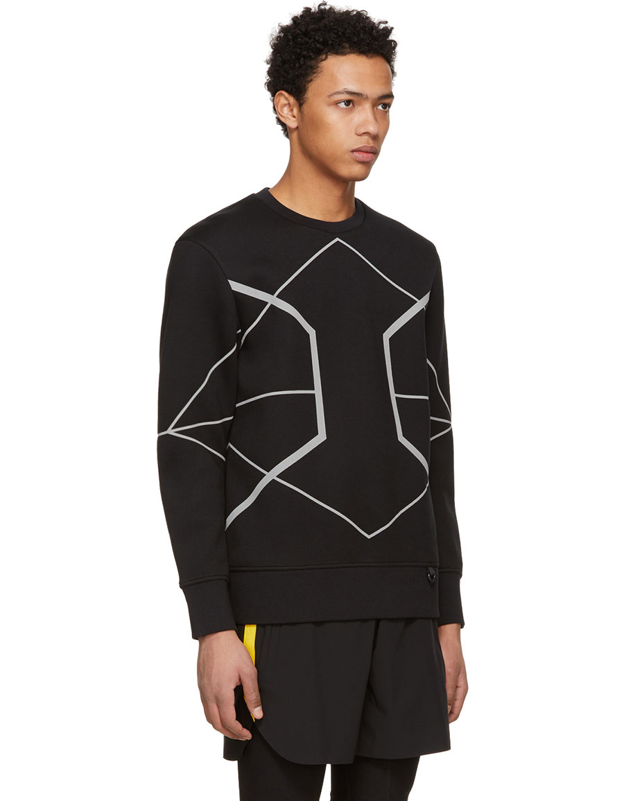 NEIL BARRETT Black Reflective Symmetric Lines Sweatshirt