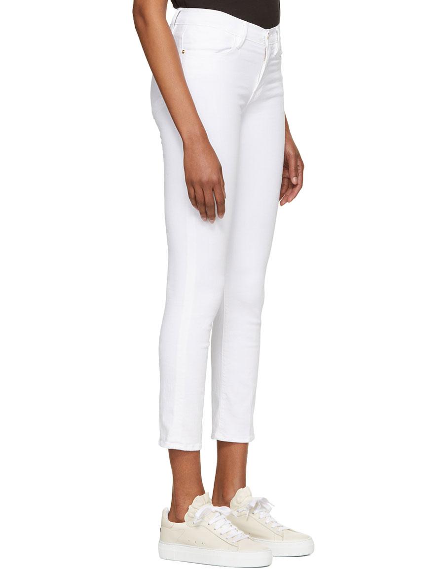 FRAME DENIM White 'Le High Straight' Jeans