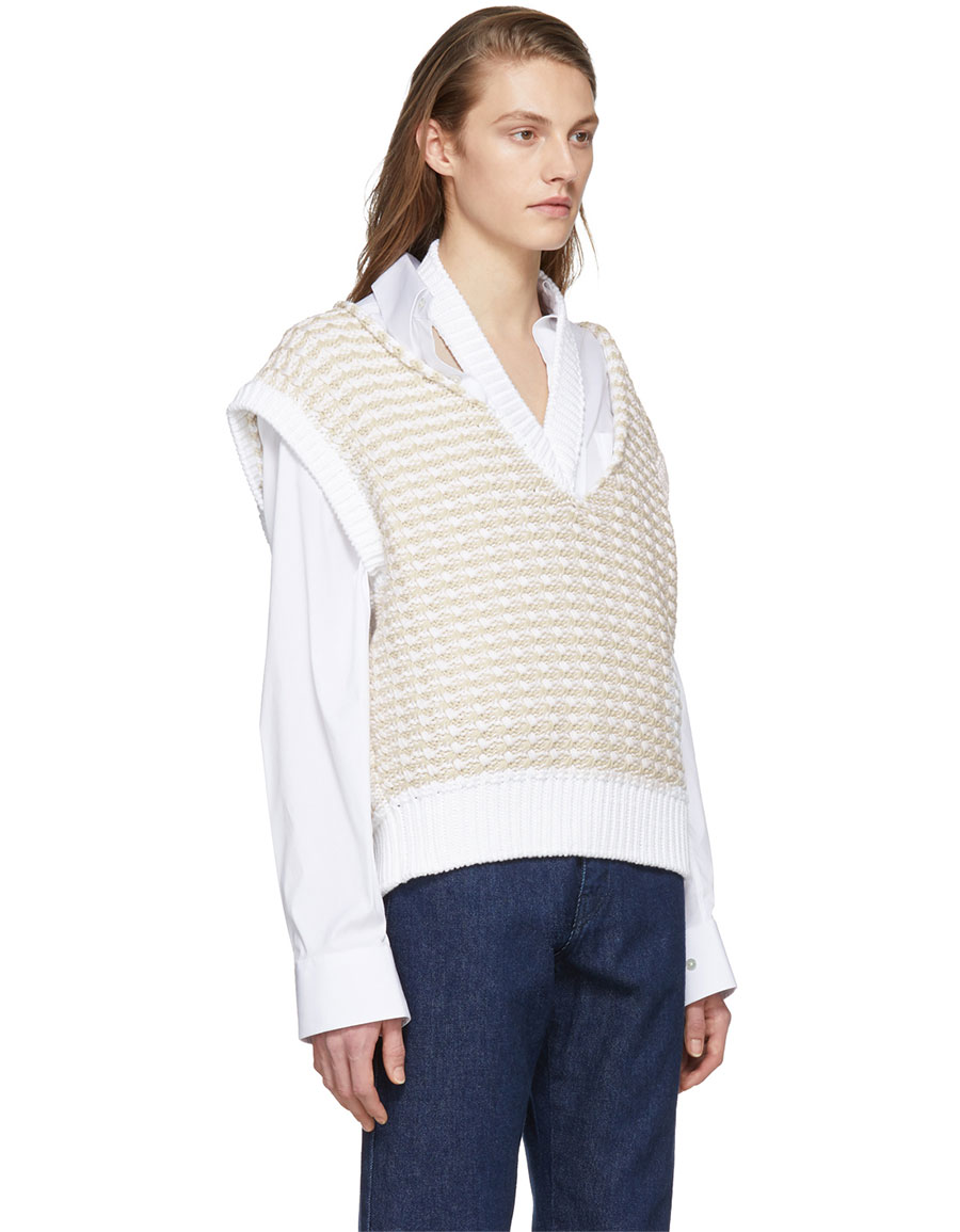 RAF SIMONS White Cropped Knit Vest