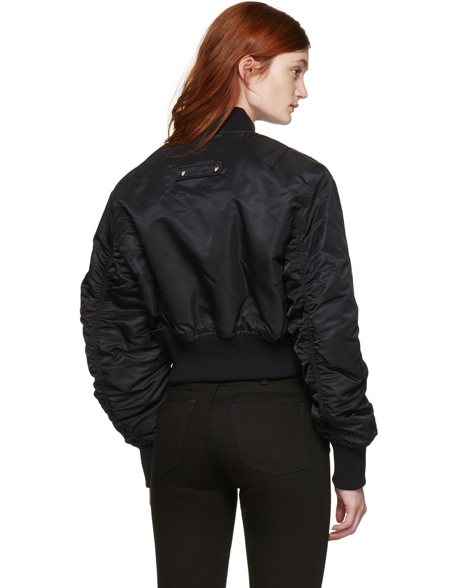 ACNE STUDIOS Black Alla Cropped Bomber Jacket