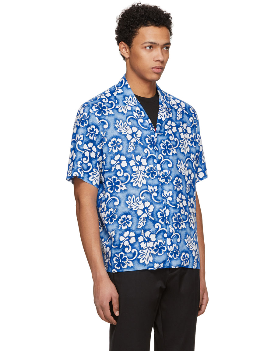 DSQUARED2 Blue Short Sleeve Ibisco Hawaiian Shirt