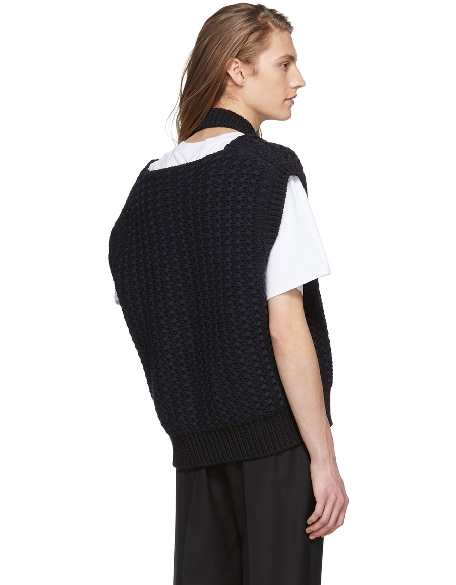 RAF SIMONS Black Cropped Knit Vest