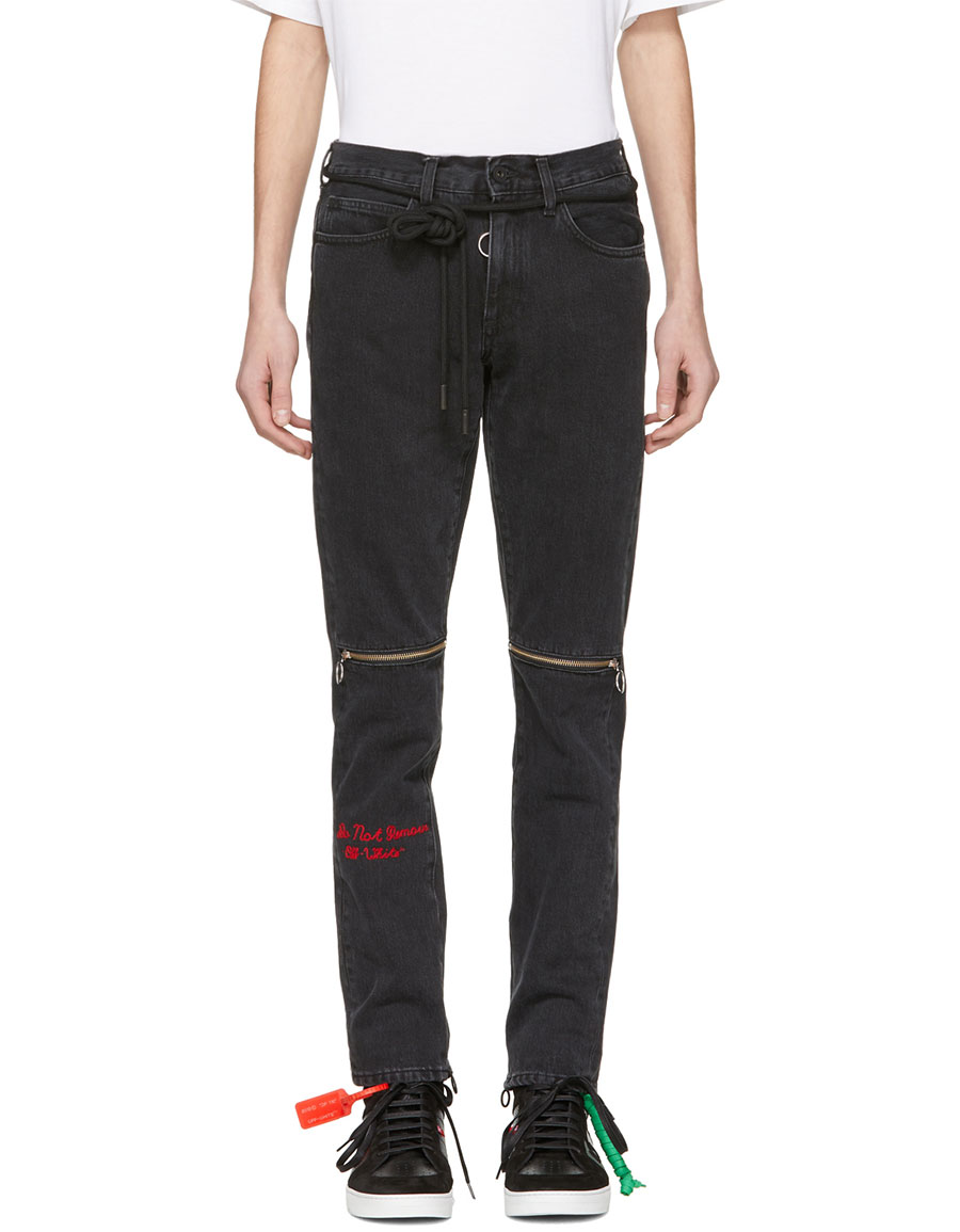 OFF WHITE Black Slim Zip Jeans