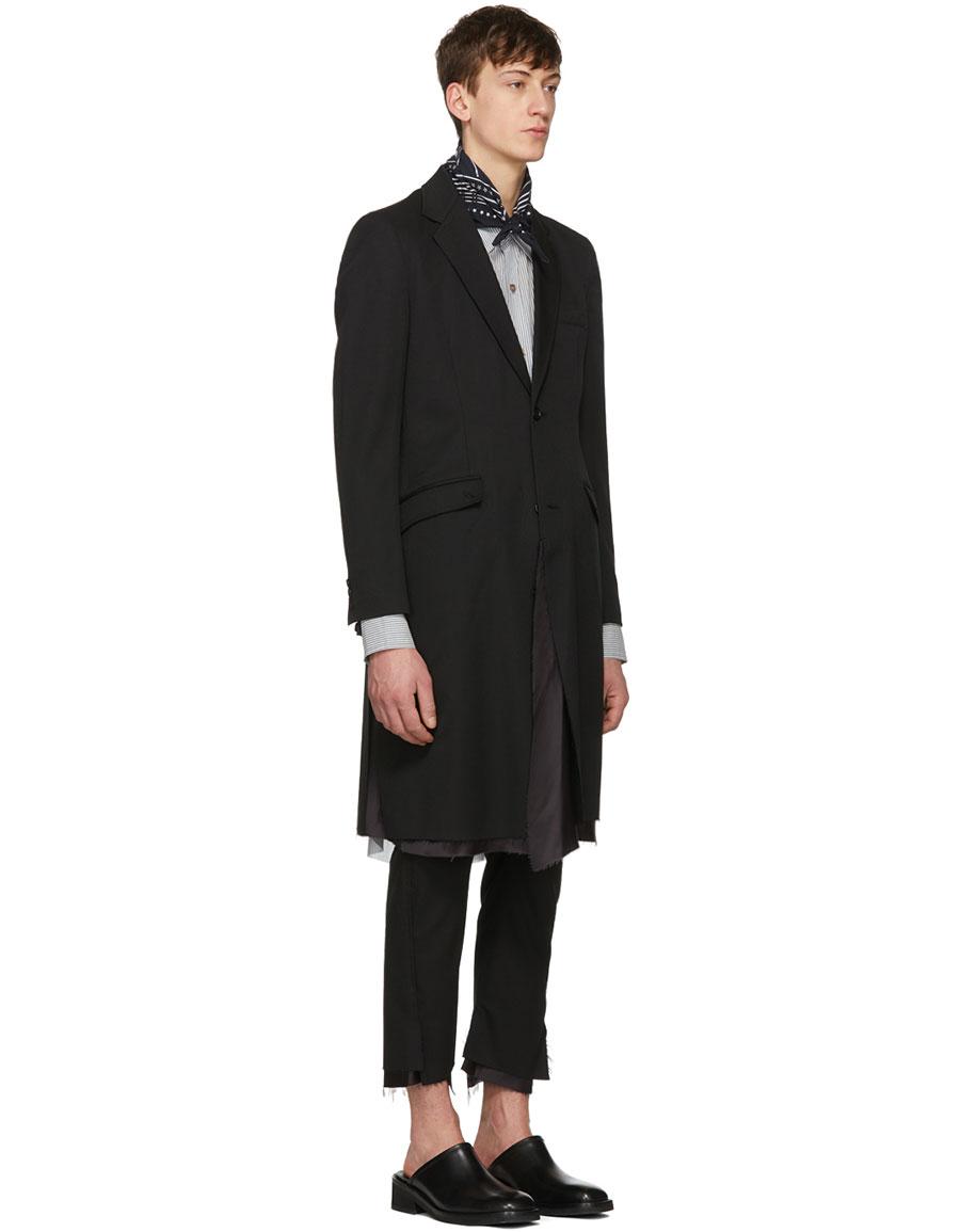 SULVAM Black Single Breasted Layered Coat
