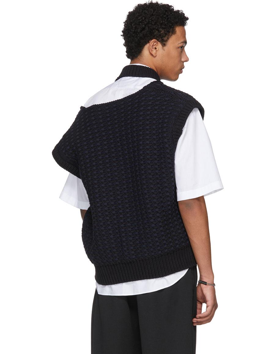 5b2098b1030bc0 RAF SIMONS Black Cropped Knit Vest · VERGLE