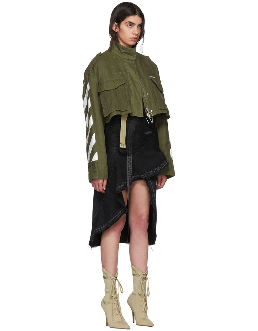 OFF WHITE Green Diagonal Cropped M65 Military Jacket