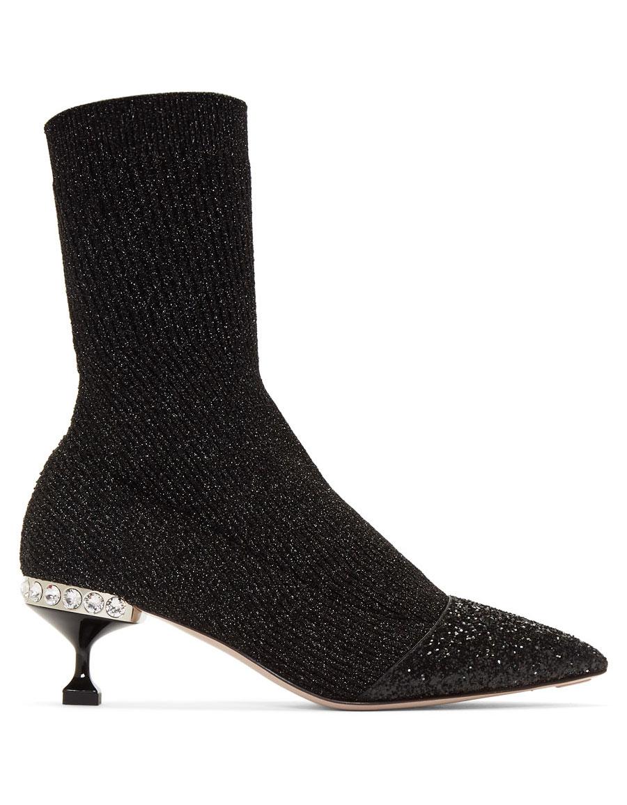 eac91a7b6a2f MIU MIU Black Glitter Sock Boots · VERGLE