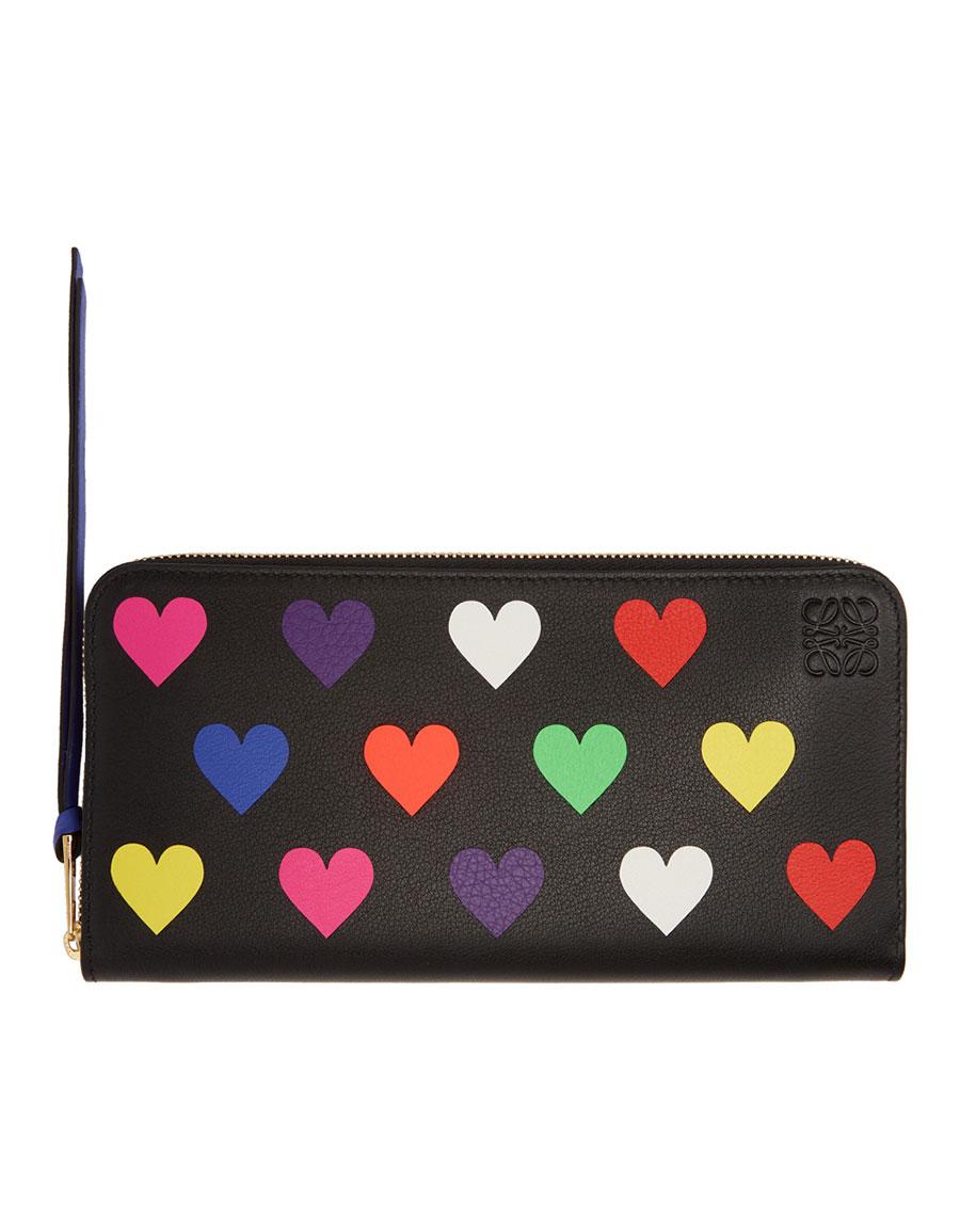 LOEWE Black Hearts Zip Around Wallet