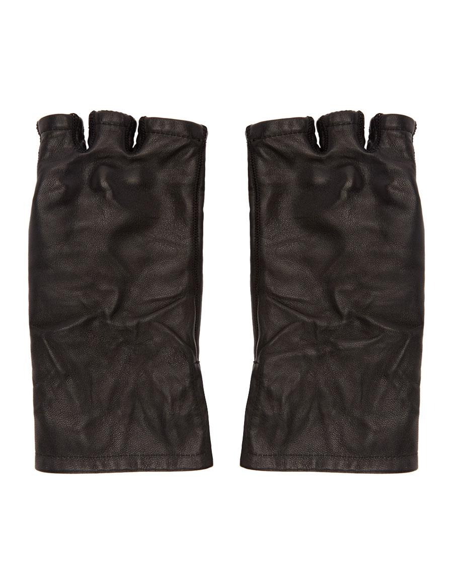 BORIS BIDJAN SABERI Black Moulded Leather Gloves