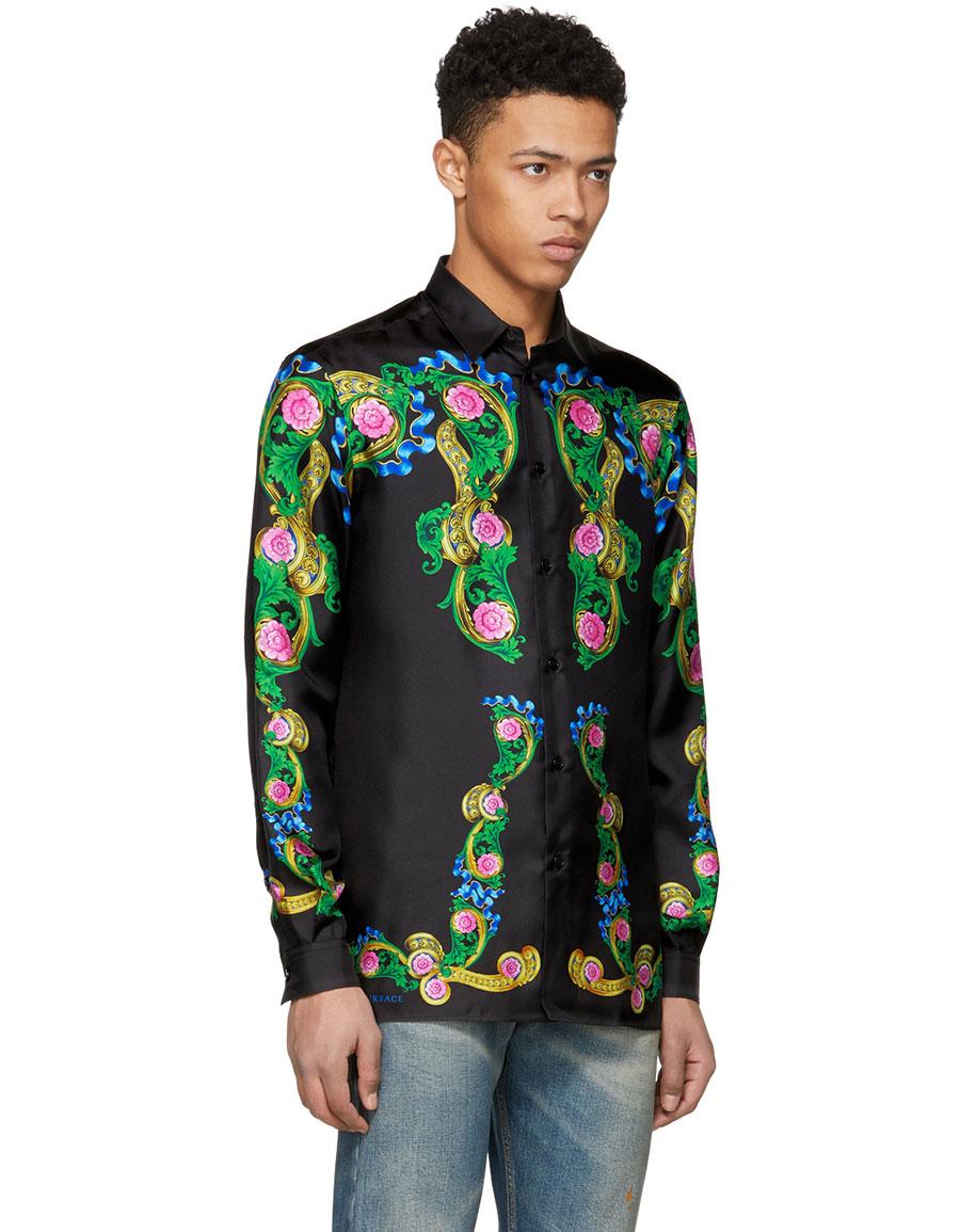 VERSACE Black Signature Print Silk Shirt