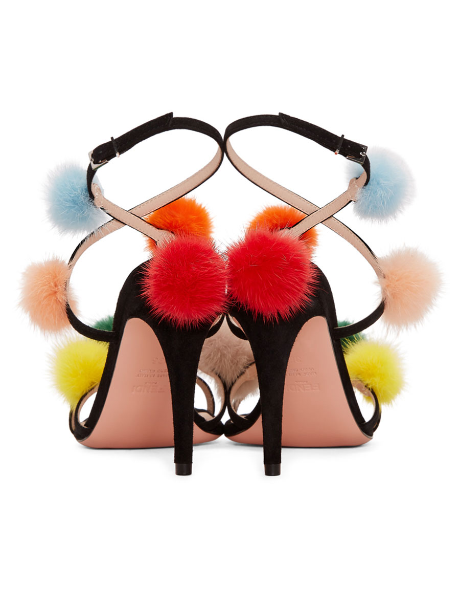 FENDI Black Fur Pom Pom Sandals