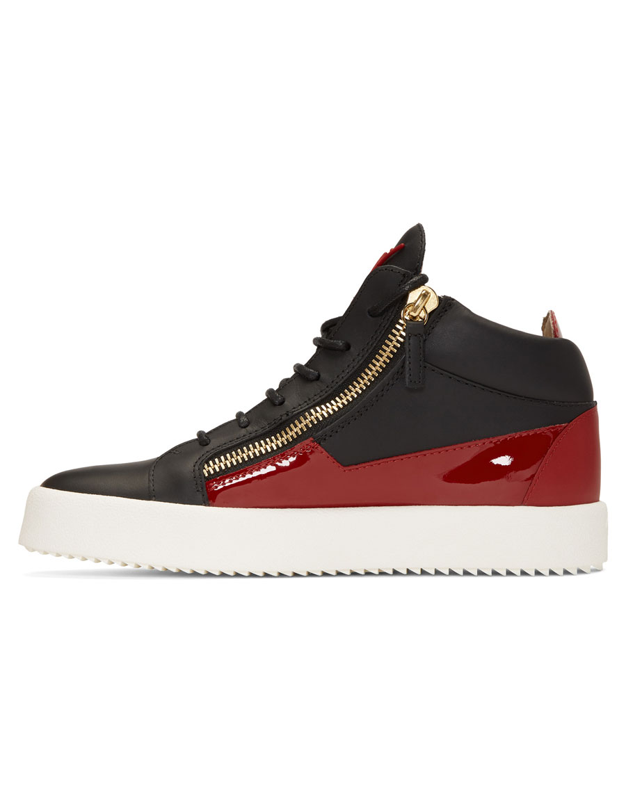GIUSEPPE ZANOTTI Black & Red May London High Top Sneakers