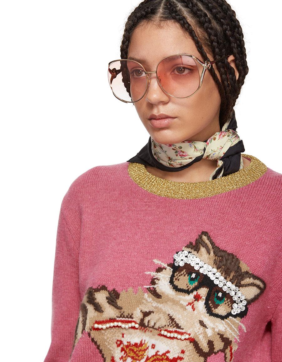 GUCCI Pink Jacquard Cat & Glasses Sweater