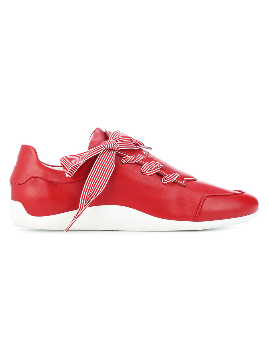 ROGER VIVIER Striped ribbon leather sneakers