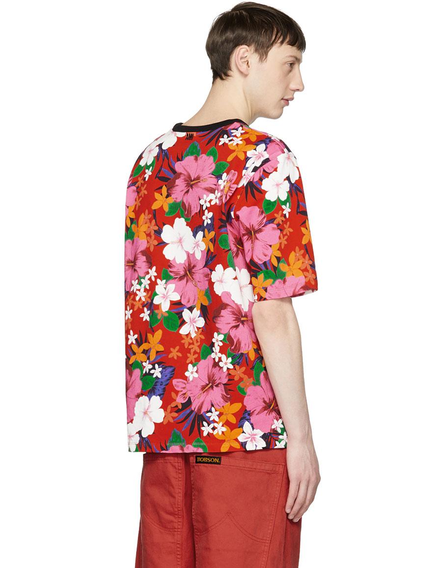 AMI ALEXANDRE MATTIUSSI Red All Over Flower T Shirt