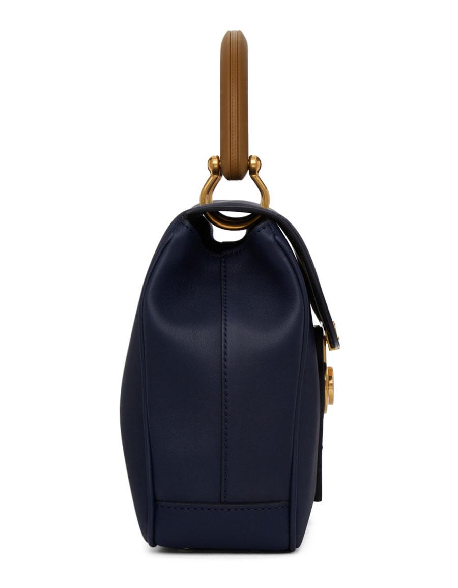 BURBERRY Blue Contrast Duffle Bag