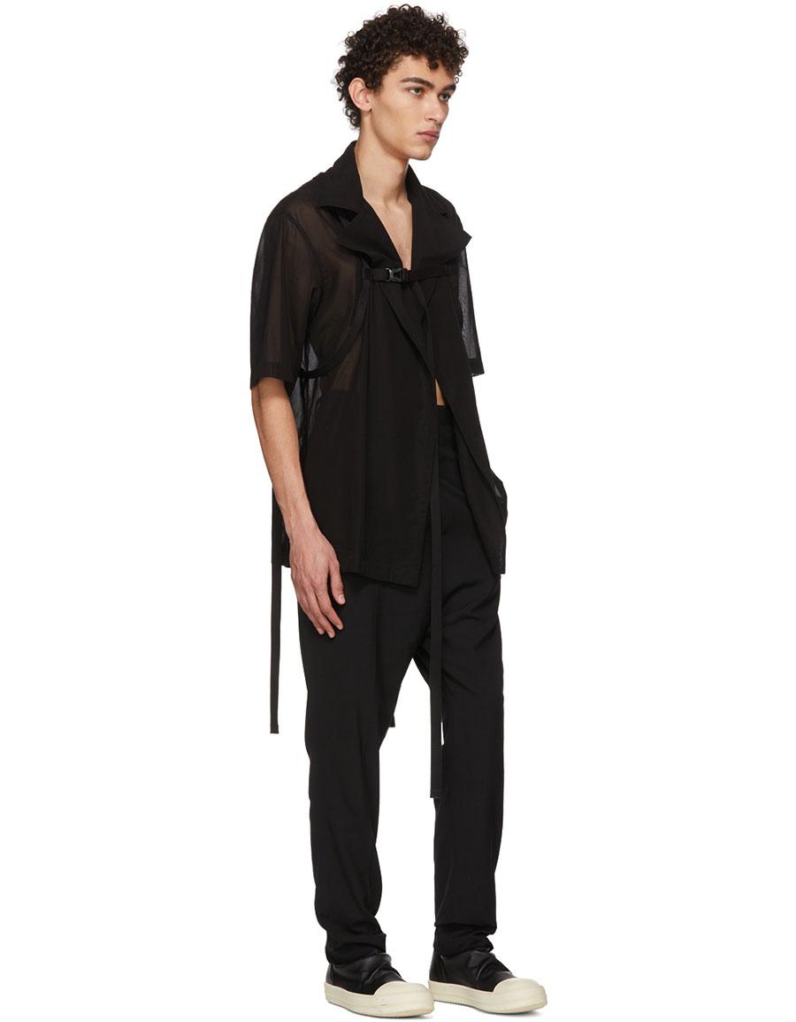 JULIUS Black Wide Collar Shirt