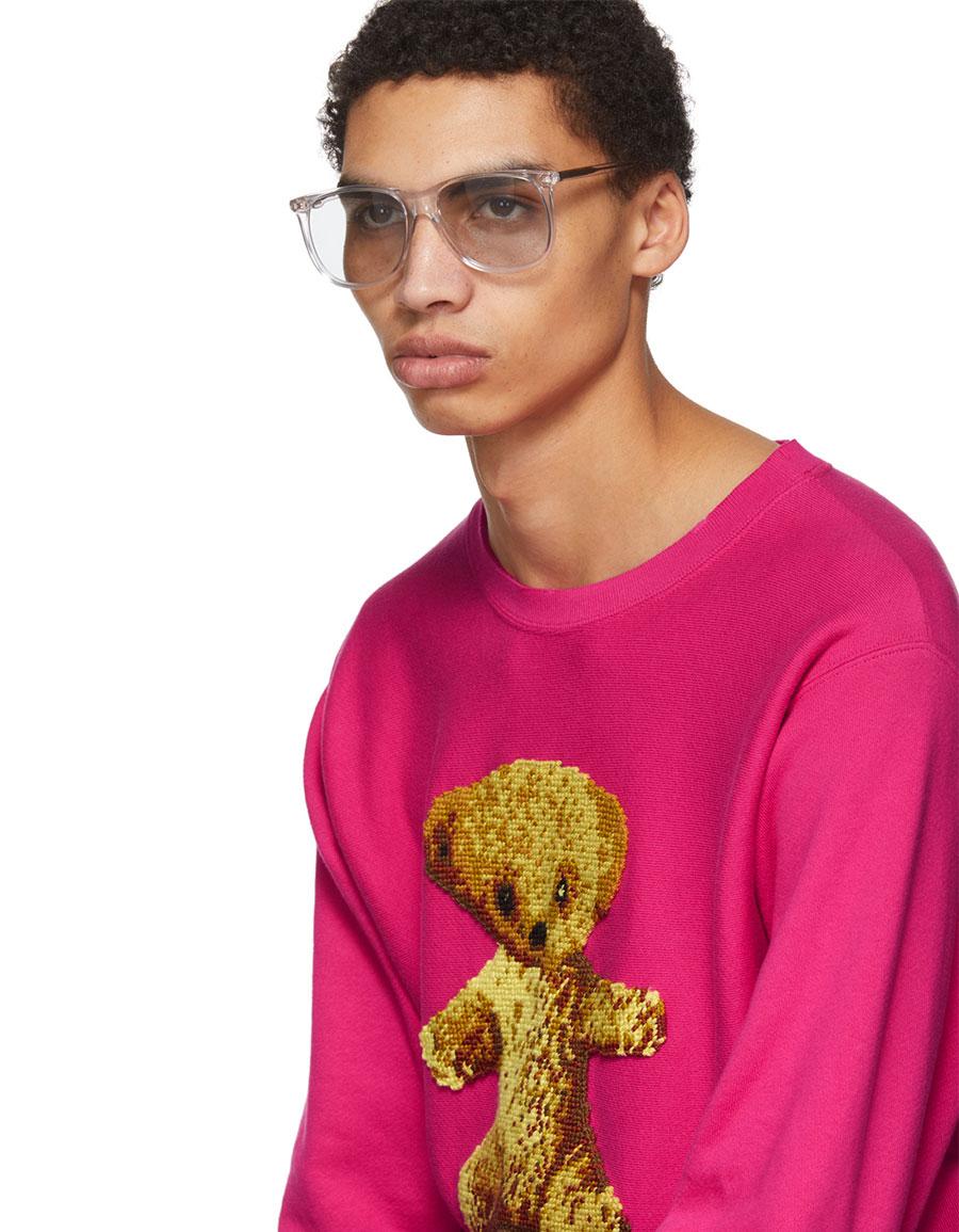 GUCCI Pink 'Guccy' Teddy Bear Sweatshirt