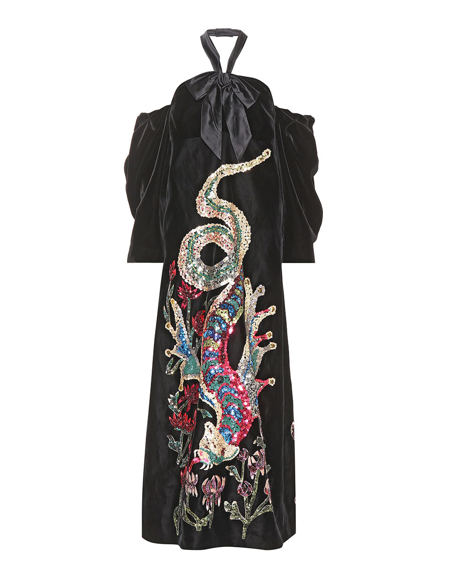 GUCCI Sequinned velvet gown