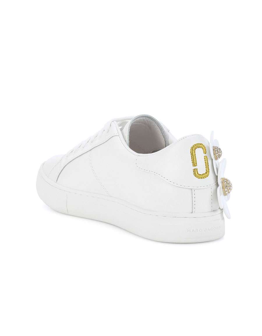 MARC JACOBS Flower embellished leather sneakers