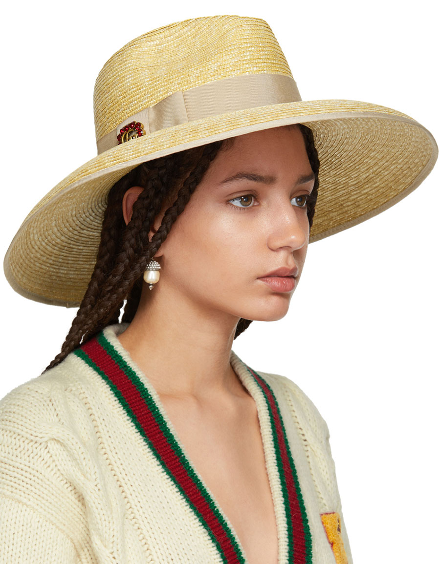 GUCCI Beige Straw Wide Brim Hat