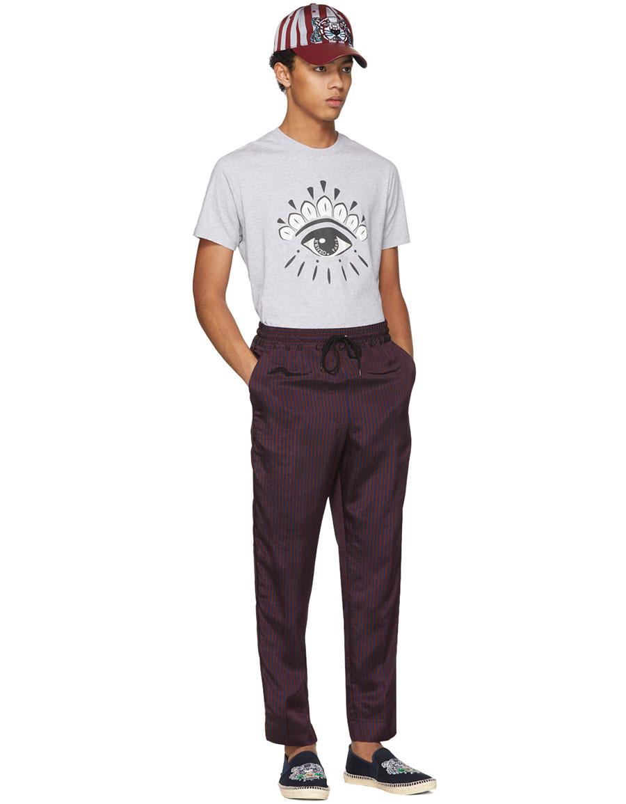 KENZO Burgundy & Navy Jacquard Stripe Trousers