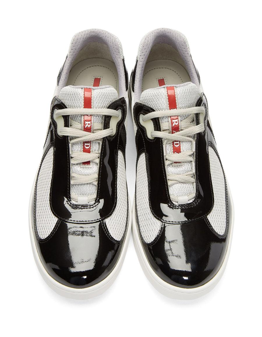 PRADA Black Patent Leather & Mesh Sneakers