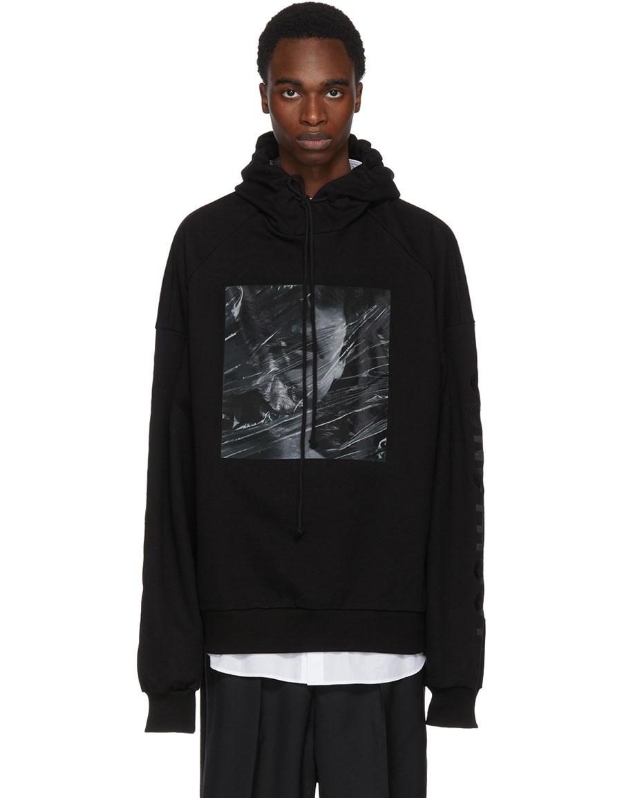 JUUN.J Black Embroidered 'Construct' Print Hoodie