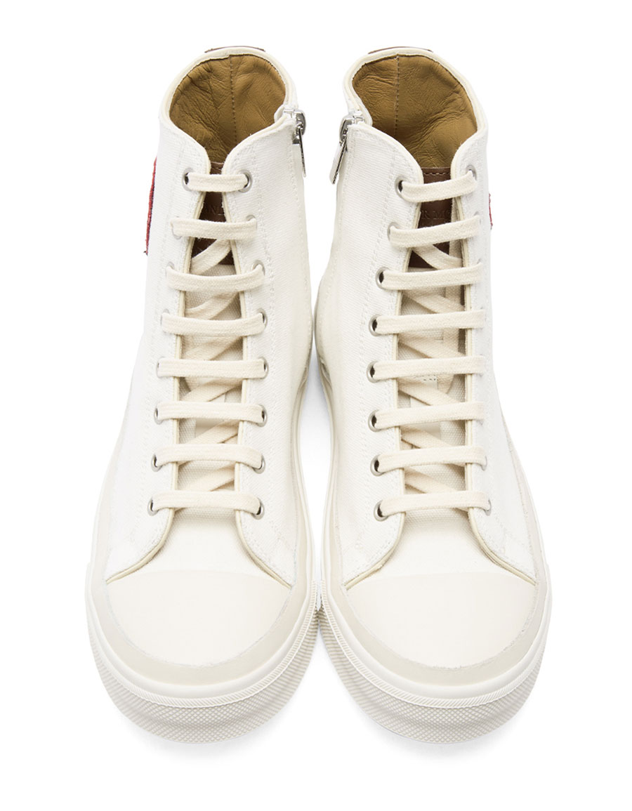 ALEXANDER MCQUEEN White Skeleton Patch High Top Sneakers