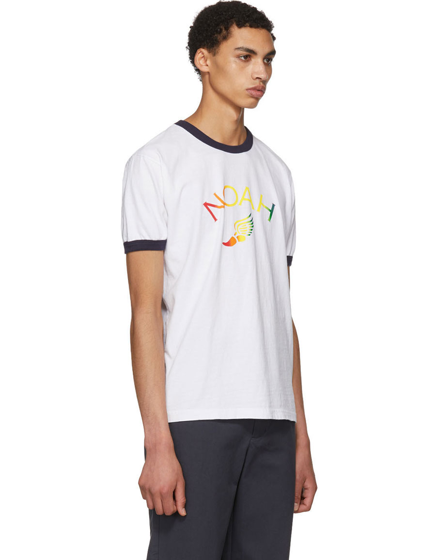 NOAH NYC White Winged Foot Ringer T Shirt