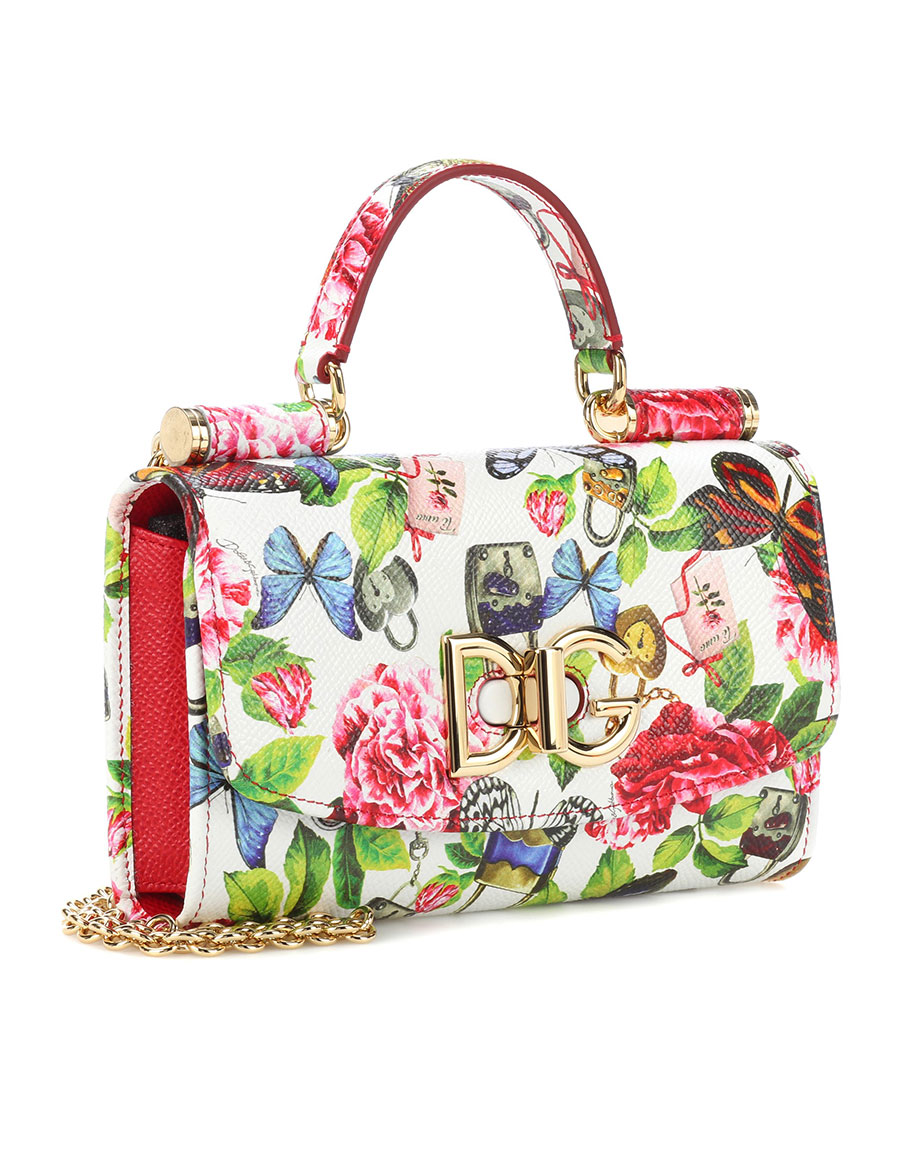 DOLCE & GABBANA Floral leather crossbody clutch