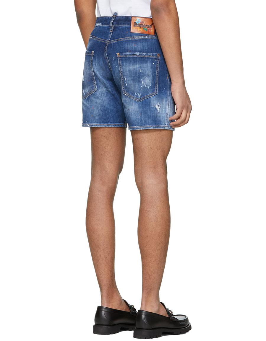 DSQUARED2 Blue Denim Dan Commando Shorts