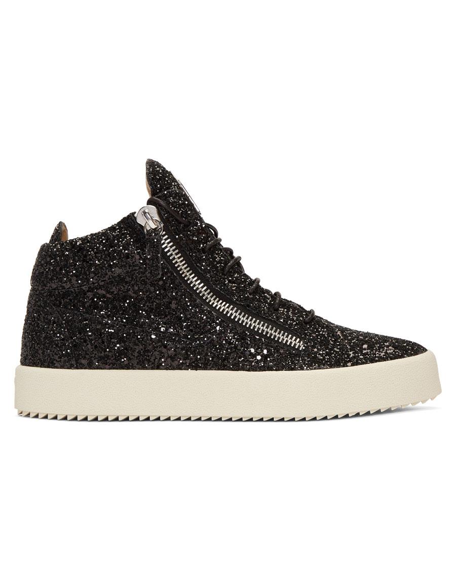 GIUSEPPE ZANOTTI Black Glitter May London High Top Sneakers