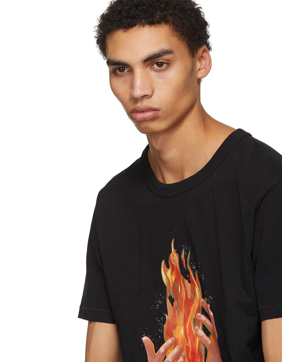 OFF WHITE Black Diagonal Fire Spliced T Shirt