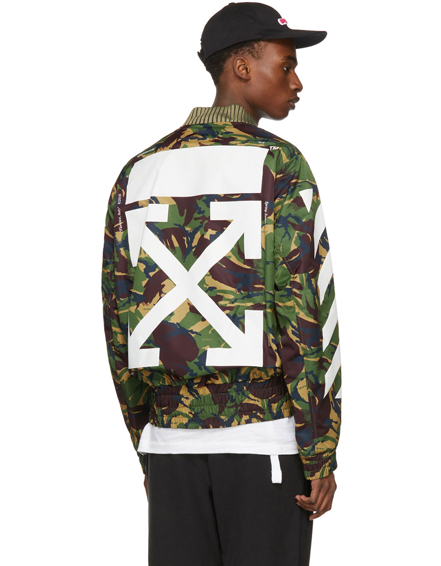 OFF WHITE Green Diagonal Camouflage Bomber Jacket