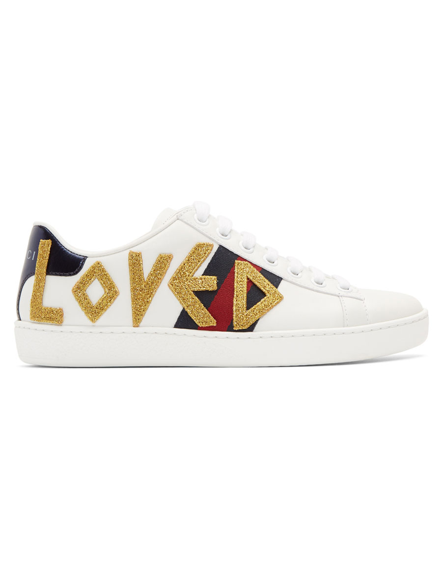 GUCCI White Embroidered 'Loved' New Ace Sneakers