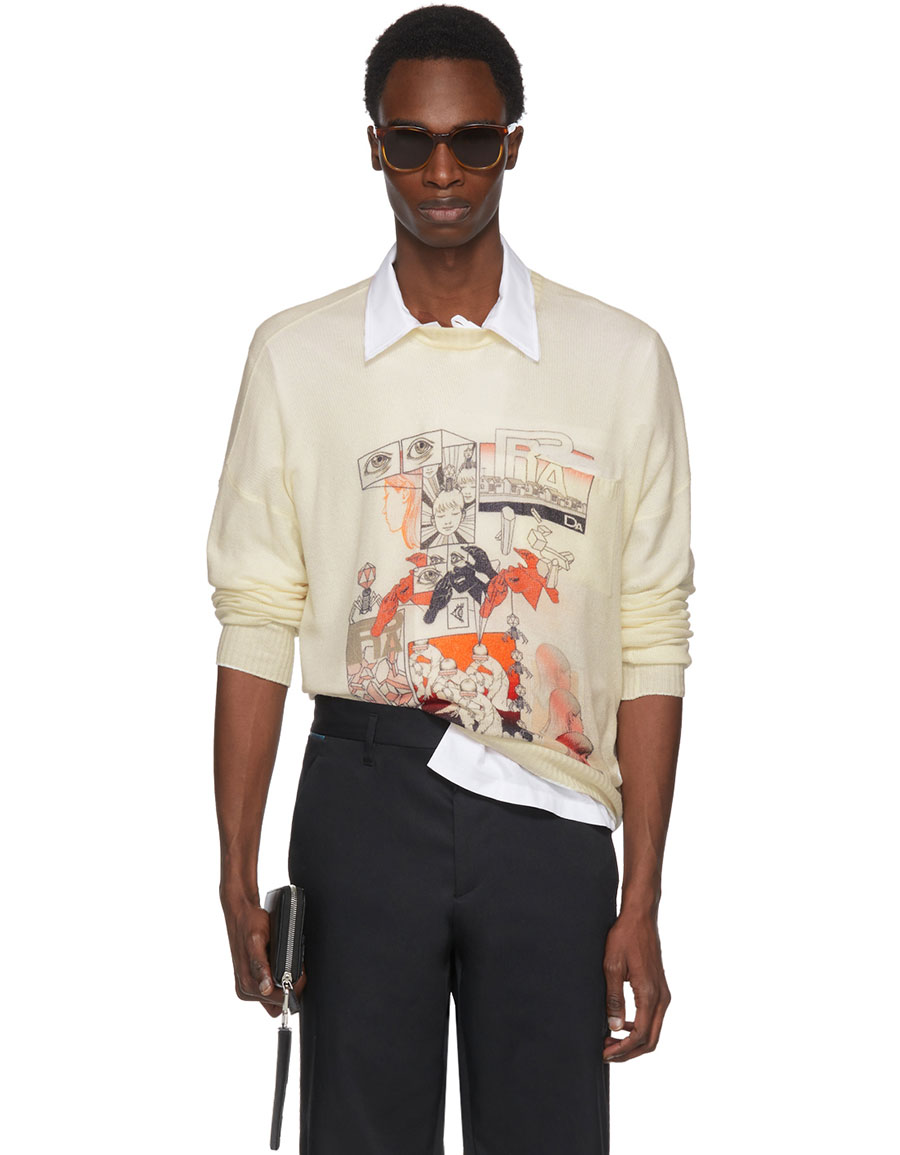 PRADA Off White Cashmere Graphic Sweater
