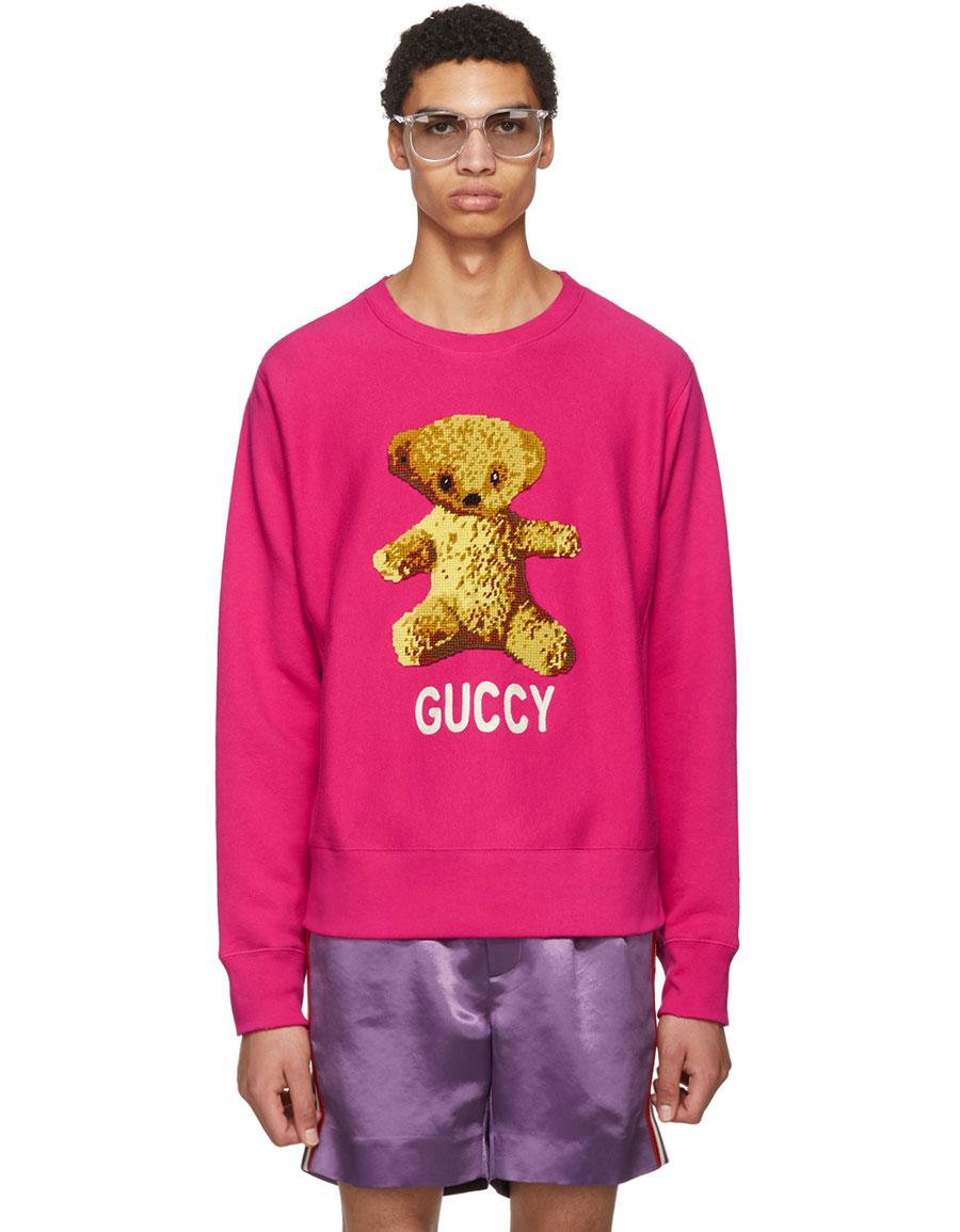 GUCCI Pink 'Guccy' Teddy Bear Sweatshirt · VERGLE