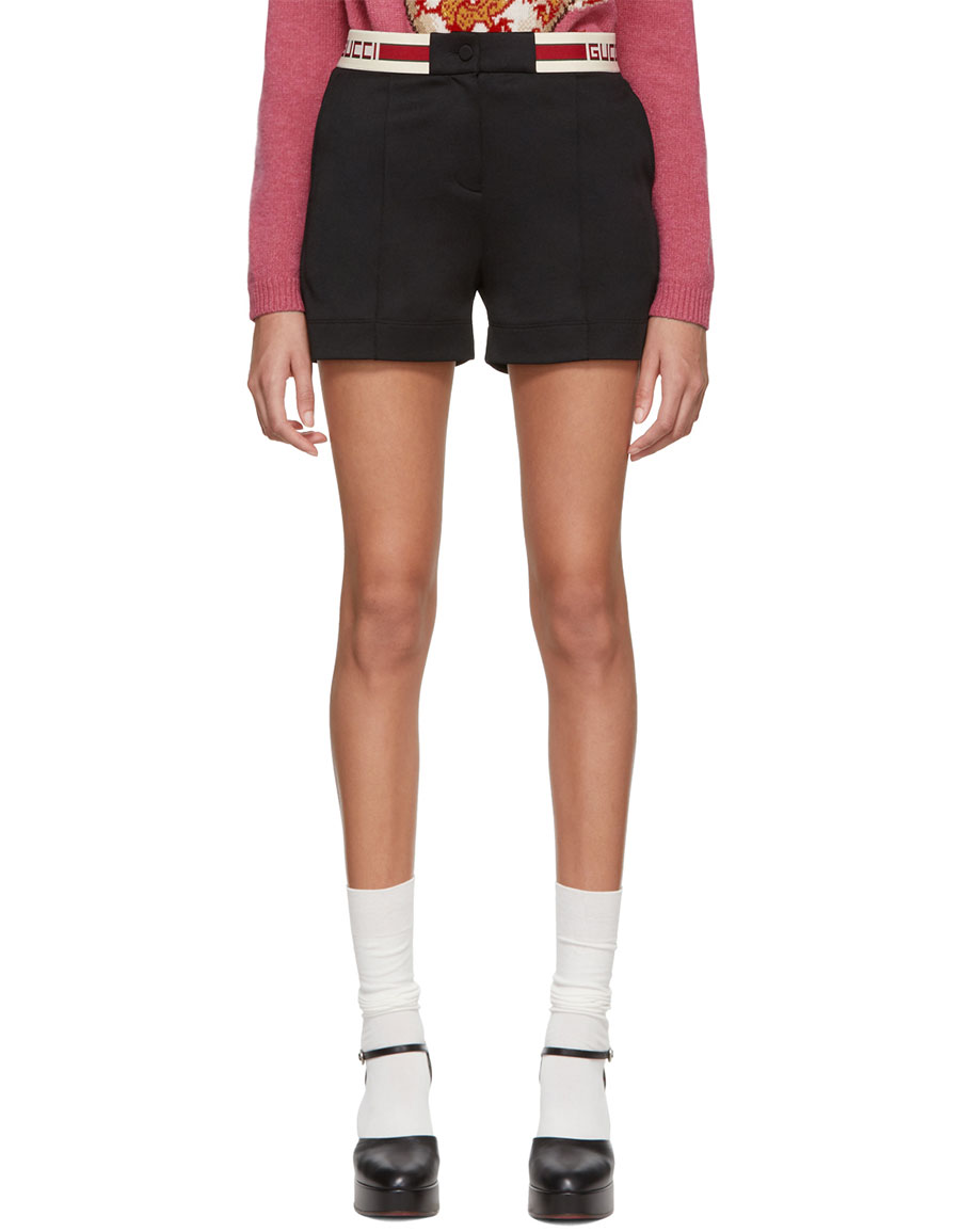 GUCCI Black Web Logo Shorts