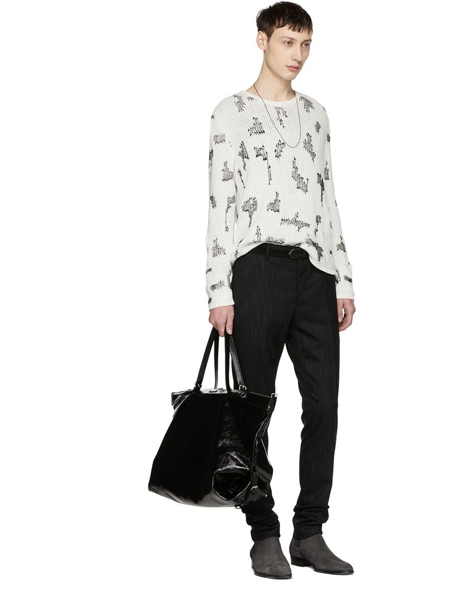 SAINT LAURENT White Destroyed Cashmere Sweater