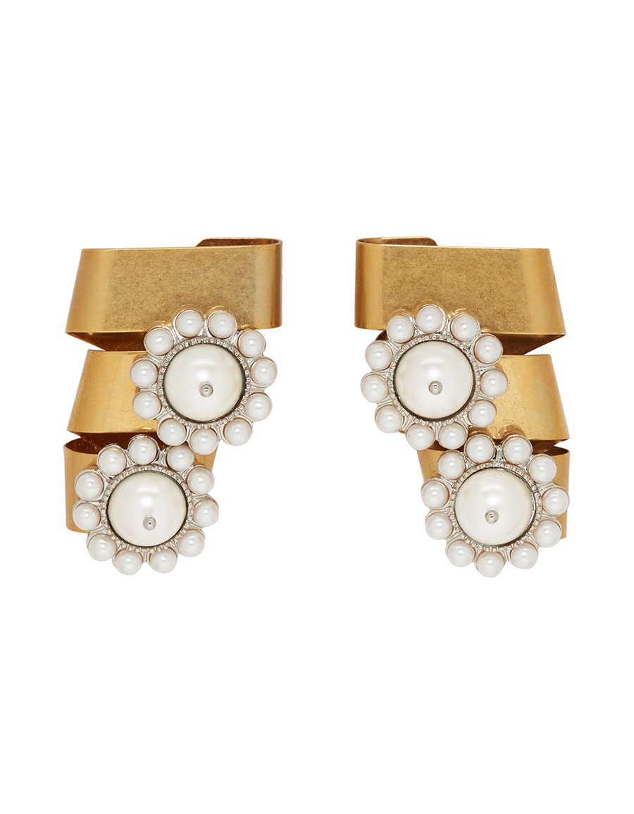 MIU MIU Gold & Off White Two Flower Pearl Earrings