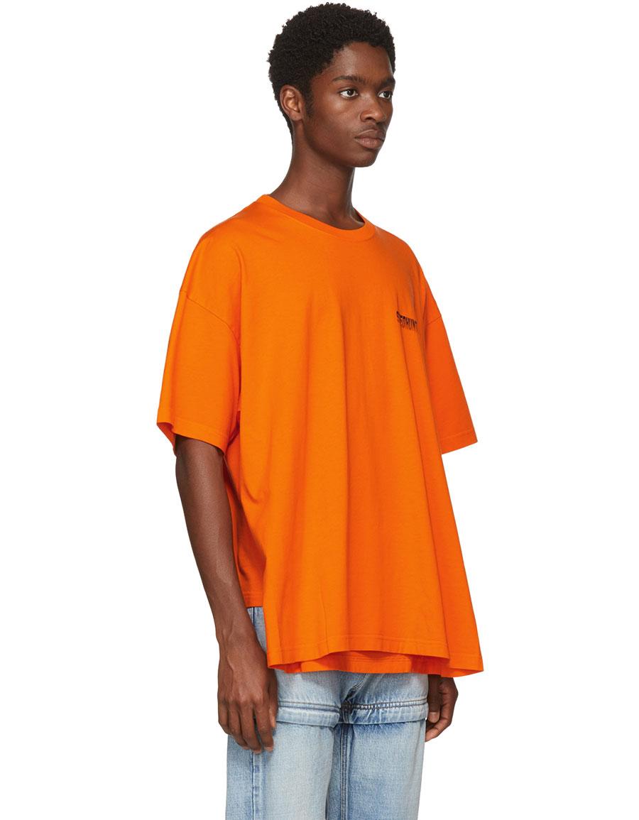 BALENCIAGA Orange 'Speedhunter' Double Hem T Shirt